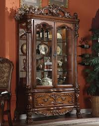wood bedroom sets dresden finish acme  dresden cherry oak storage curio cabinet