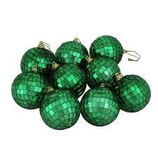 Shop 9ct Green Mirrored Glass Disco Ball Christmas Ornaments <b>2.5</b> ...