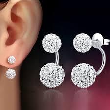 1 Pair Women Lady Jewelry Silver <b>Double</b> Beaded <b>Rhinestone</b> ...