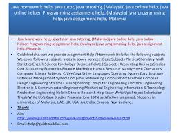 Malaysia Java assignment help   Malaysia  Java Homework help  Java Tu    SlideShare     help guidebuddha com     Java homework