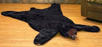 carved moose bear rug