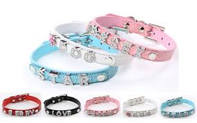 Lovely Puppy Pet Products Bling <b>Rhinestone PU Leather Dog</b> Collar ...