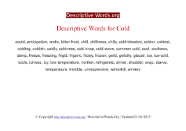 descriptive words for cold descriptive words list of adjectives cold descriptive words