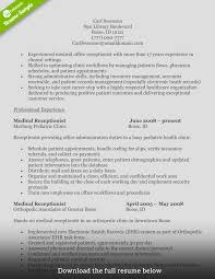 resume clinic receptionist sample resume of medical receptionist how to write a perfect receptionist resume examples included