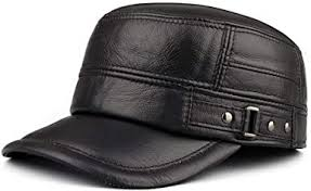 <b>Men's Leather</b> hat Winter Flat top Military Cap <b>Outdoor Leisure</b> ...