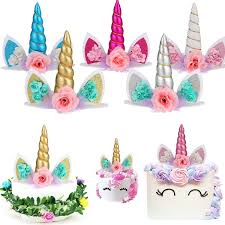 <b>1pcs</b> Glitter 3D <b>Unicorn</b> Horns Cake Topper Kit <b>Kids</b> Cake <b>Birthday</b> ...