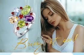 JPalac Flower <b>Natural</b> Amethyst Citrine Garnet Peridot Topaz Ring ...