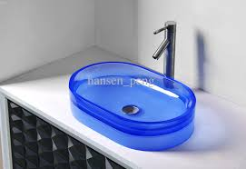 bathroom countertop basins wholesale:  cupc certificate bathroom resin oval counter top sink colourful cloakroom wash basin solid surface stone vessel sinks rs from hansen peng