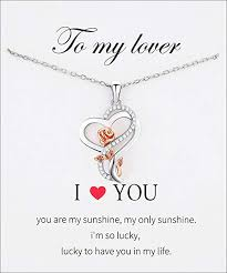 Heart Rose Flower Necklace <b>S925 Sterling Silver</b> Jewelry Pendant ...