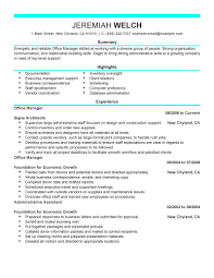 office manager resume template com create resume office manager admin modern highlight eaxperience