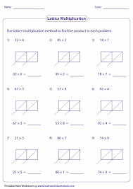 Lattice Multiplication Worksheets and Grids2-digit and single-digit: Lattice Multiplication