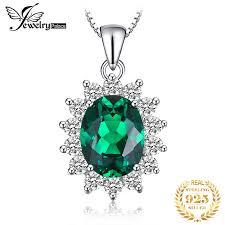 <b>Jpalace</b> 3ct <b>Simulated Nano</b> Emerald Pendant Necklace 925 ...