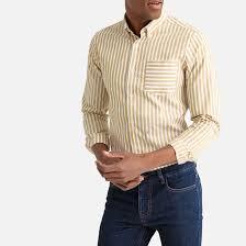 <b>Рубашка</b> в <b>полоску</b> приталенного покроя желтый горчичный <b>La</b> ...