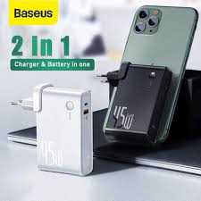 [gan tech] <b>baseus 2 in 1</b> 45w usb-c wall charger + 10000mah power ...