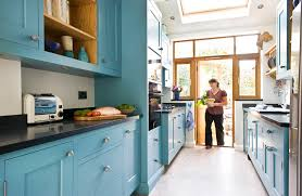 galley kitchen designs with light blue cabinets color blue cabinet kitchen lighting