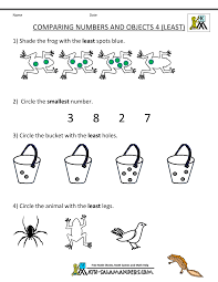 Pre Kindergarten Math Worksheets Comparing Numbers and Sizekindergarten math worksheets comparing numbers objects 4