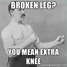 BROKEN LEG? YOU MEAN EXTRA KNEE - old man boxer | Meme Generator via Relatably.com