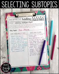 upper elementary snapshots mini lessons for getting started completing their lists of subtopics and t charts gives students a great starting point for the direction they want to take their essays