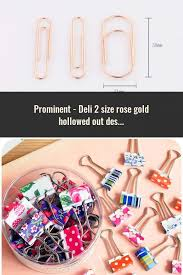 <b>Deli</b> 2 size <b>rose gold</b> hollowed out design binder clip for office ...