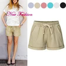 <b>Summer Women Wide Leg</b> Shorts Cotton High Waist Drawstring ...