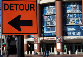 san antonio raiders check the odds woai a detour sign for riverfront construction stands in front of the edwards jones dome on tuesday