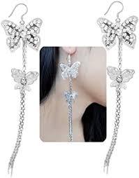 Lovely Double Butterfly Crystal Long Tassel Dangle Earrings for ...