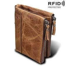 Online Shop <b>Genuine Cow Leather Men</b> Wallets RFID Double ...