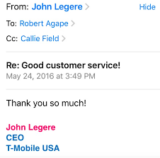 t mobile ceo and svp respond to customer s email callie field is t mobile us svp of customer care she also responded directly to the customer thanking him for passing along his thoughts and for being