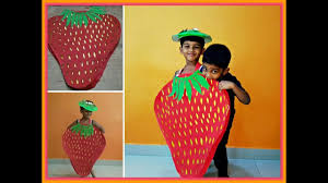 How to make Strawberry fancy dress at Home|Strawberry costume ...