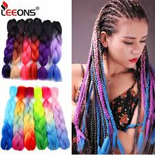 <b>Leeons Purple Pink</b> Blue Jumbo Braid Synthetic Ombre Braiding ...