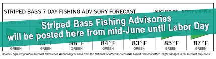 Striped <b>Bass Fishing</b> Advisory Forecast