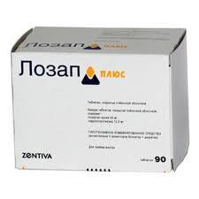 Лекарственное средство <b>Лозап Плюс 50мг</b>+12,5мг таб. п/п/о №90 ...