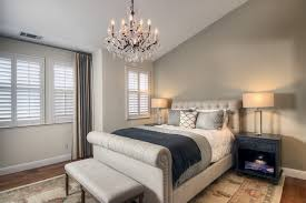 bedside table lamps bedroom transitional with asymmetrical crystal chandelier drapery bedroom lighting bedroom ceiling lights bedside