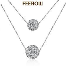 <b>2019 FEEHOW</b> Simple Lucky Ball Double Layer Crystal Sexy ...