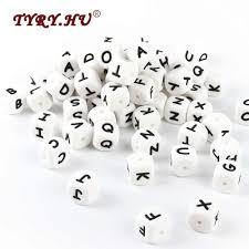 TYRY.HU 10Pcs <b>Silicone Letter Beads BPA Free</b> English <b>Alphabet</b> ...