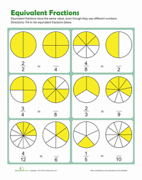 Equivalent Fractions | Worksheet | Education.comThird Grade Fractions Worksheets: Equivalent Fractions