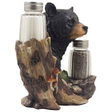 com black bear glass salt and pepper shaker set sculpture com black bear glass salt and pepper shaker set sculpture kitchen decor in rustic lodge and cabin figurines by home n gifts kitchen dining