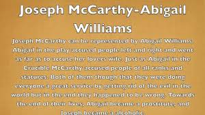 mccarthyism and the crucible w character comparison mccarthyism and the crucible w character comparison