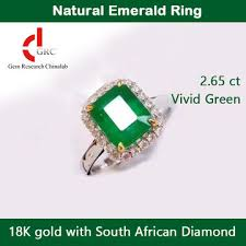 <b>Natural Square</b> Emerald Ring 18K Gold with South African <b>Diamond</b> ...