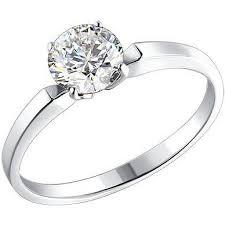 <b>Кольцо с 1 фианитом</b> из серебра, классика (1 камней, серебро ...
