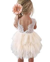 Topmaker Backless A-line <b>Lace</b> Back <b>Flower Girl Dress</b>