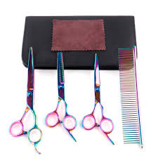 professional 4 kit japan 8 inch pet shears dog grooming thinning hair scissors cutting barber tools hairdressing set