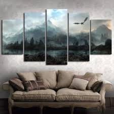 <b>5 Piece</b> Wall Art Picture Game of Thrones Dragon Skyrim Oil – 3D ...