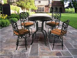 bar height patio chair: bar height bistro patio set with black height patio table and brown cushion in the height patio chairs