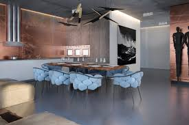 the dining chairs become a draw with their plush bulbous design and lovely sky blue chair unusual dining chairs