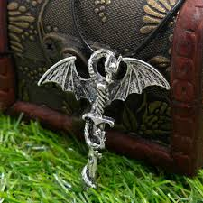 <b>Gothic Dragon Wings</b> Cross Sword Pendant Necklace Stainless Hip ...