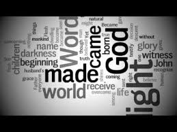a graphic with words from the reading: the largest words are God, Made, and Light