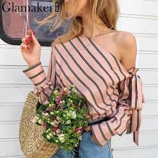 Glamaker Striped <b>chiffon</b> one shoulder <b>women</b> blouse shirt Summer ...