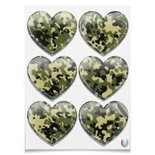Наклейки-сердца 7.5x9.7см <b>Камуфляж</b> 2 #2570998 – заказать ...