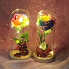 Romantic Artificial Decoration Flowers <b>Glass Cover Fresh Preserved</b> ...